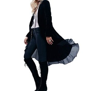 Velvet duster / cardigan, black, NWT